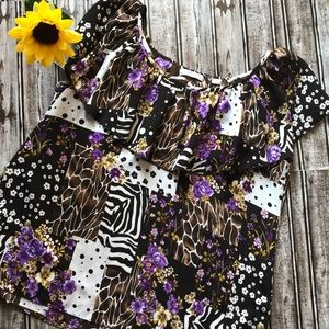 Passports brown and purple blouse